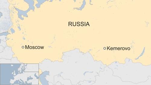 Vị trí thành phố Kemerovo. Đồ họa: BBC.