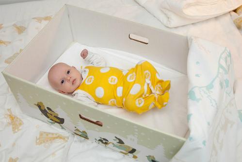 Một em bé Phần Lan nằm trong chiếc thùng carton do chính phủ tặng khi chào đời. Ảnh: Goodnet