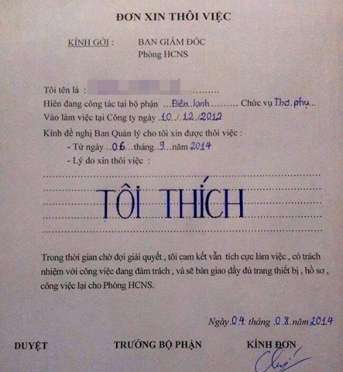 Những lá đơn xin nghỉ việc chất nhất Việt Nam
