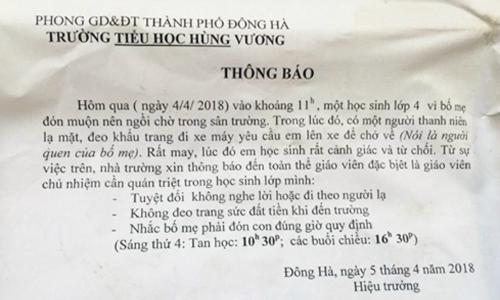 Trường học Quảng Trị dán thông báo cảnh giác với người lạ