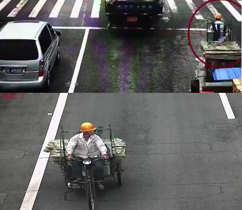 Hình ành Quốc chở phên nứa (trong khoanh tròn đỏ) được trích xuất từ camera giao thông.