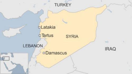 Khu vực Tartus và Latakia nằm giáp Địa Trung Hải. Đồ họa: BBC.