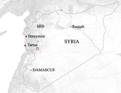 Sân bay Hmeymim ở phía đông Syria. Đồ họa: Newsweek.