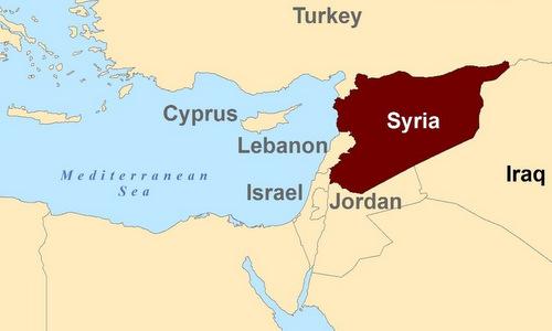 Vị trí của Syria có bờ biển phía đông giáp với Địa Trung Hải. Ảnh: Steemit.