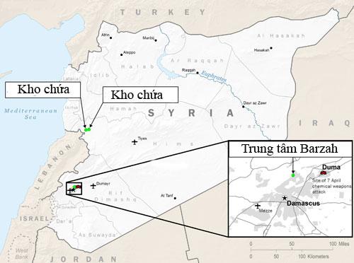 Ba mục tiêu ở tỉnh Homs và Damascus bị Mỹ và đồng minh tấn công. Đồ họa:BQP Mỹ.