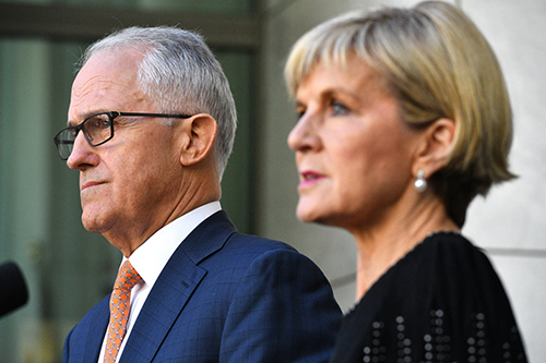 [CaPrime Minister Malcolm Turnbull (left) and Foreign Minister Julie Bishop.
