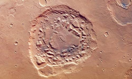 Vùng trũngIsmenia Patera trên sao Hỏa do tàu vũ trụ Mars Express quan sát được.Ảnh: ESA.