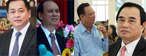 Các bị can (từ trái qua): Phan Anh Văn Vũ, Trần Văn Minh, Nguyễn Điểu, Văn Hữu Chiến.