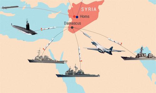 Các mũi tấn công của liên quân Mỹ trong đòn không kích Syria hôm 14/4. Đồ họa: Tiến Thành