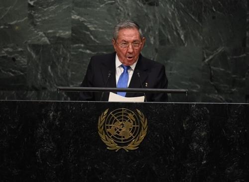 Chủ tịch Cuba Raul Castro tại một cuộc họp của Liên Hợp Quốc tại New York năm 2015. Ảnh: AFP.