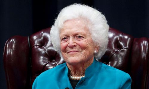 Cựu đệ nhất phu nhân Mỹ Barbara Bush hồi năm 2011. Ảnh: ABC News.