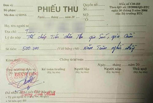 Phiếu thu tiền thế chấp chăn thả trâu bò của HTX dịch vụ Minh Anh. Ảnh: Lam Sơn.
