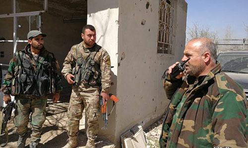 Binh lính của quân đội chính phủ Syria ở thành phốJisreen, ĐôngGhouta. Ảnh:Almasdar.