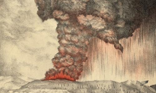 Vụ phun trào núi lửa Krakatoa năm 1883 gây ra những thiệt hại nặng nề.Ảnh: Science Alert.