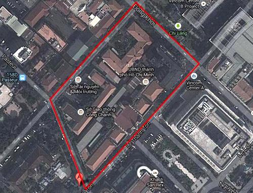 Vị tri trung tâm hành chính TP HCM. Ảnh: Google maps