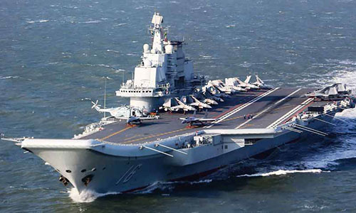Tàu sân bay Liêu Ninh tham gia cuộctập trận trên Biển Đông kéo dài một tuần từ ngày 5/4. Ảnh: AP.