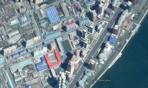 Phố khoa học Mirae, một dự án bất động sản khánh thành năm ngoái ở Bình Nhưỡng qua ảnh vệ tinh. Ảnh: Curtis Melvin.