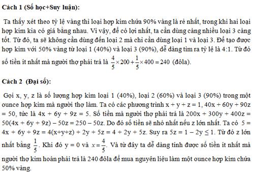 Đáp án bài toán của ông thợ kim hoàn - 1