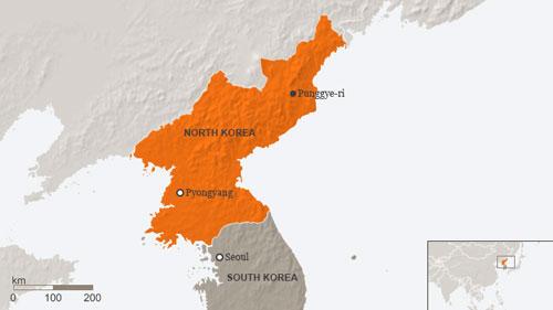 Vị trí bãi thử hạt nhân Punngye-ri ở Triều Tiên. Đồ họa: DW.