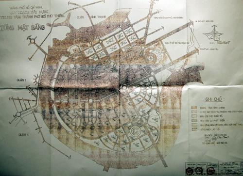 Bản đồ được cho là quy hoạch 1/5.000 khu đô thị mới Thủ Thiêm.