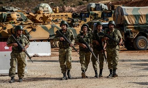 Binh sĩThổ Nhĩ Kỳ tại vùng biên giới Syria. Ảnh: AFP.