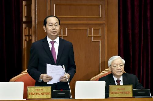 Chủ tịch nước Trần Đại Quang phát biểu tại Hội nghị Trung ương 7, khóa XII khai mạc sáng nay 7/5. Ảnh: VGP/Nhật Bắc