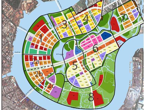 Bản đồ quy hoạch sử dụng đất năm 2011, thuộc Đồ án điều chỉnh quy hoạch cục bộ phân khu tỷ lệ 1/2.000 khu đô thị Thủ Thiêm. Ảnh:BQL KĐT Thủ Thiêm.
