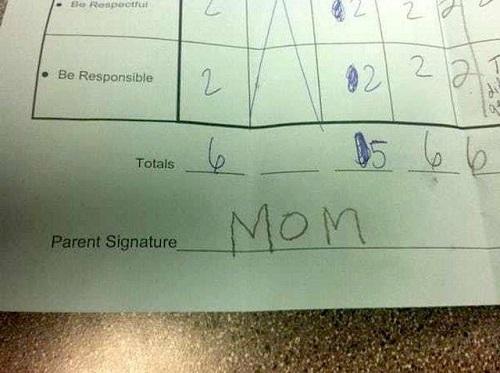 Chữ ký phụ huynh: Mẹ của cháu.