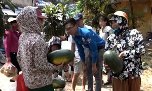 """Sinh viên """"giải cứu"""" 30 tấn dưa hấu giúp nông dân Quảng Ngãi"""