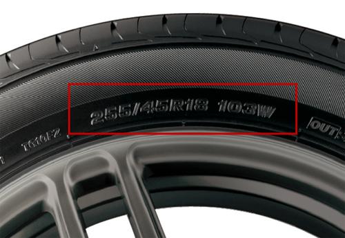 Các thông số in trên hông lốp.