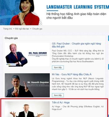 Trung tâm tiếng Anh Langmaster giới thiệu A.J Hoge là chuyên gia nhưng bị A.J Hoge phản hồi rằng: họ lừa dối. Ảnh chụp màn hình.