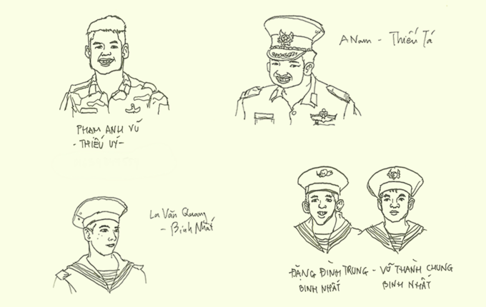Chiến sĩ Trường Sa trong ký họa của chàng thanh niên Việt ở Singapore