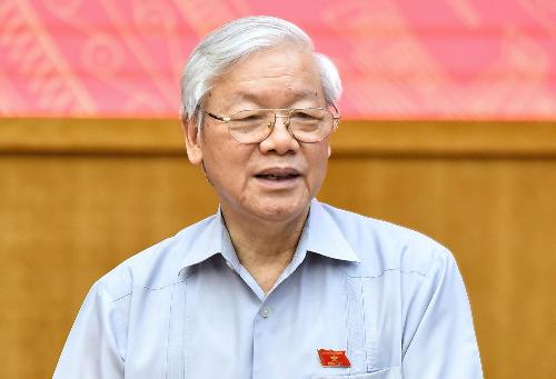 Tổng bí thư Nguyễn Phú Trọng tại cuộc tiếp xúc cử tri sáng 13/5. Ảnh: Giang Huy