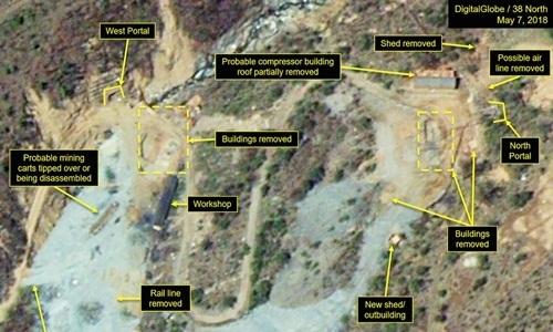 Ảnh vệ tinh Triều Tiên phá hủy bãi thử hạt nhân