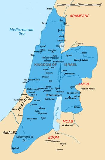 Vương quốc Israel (1030 - 930 TCN). Đồ họa: Wiki.
