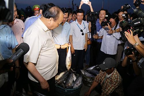 Thủ tướng hỏi thăm giá cả các loại cá, trực tiếp mua ba con cá ủng hộ ngư dân Quảng Trị. Ảnh: Hoàng Táo