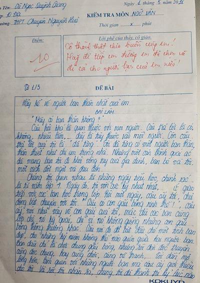 Bài văn đạt điểm 10 của Quỳnh Giang.