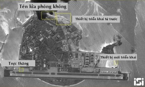 Ảnh vệ tinh cho thấy Trung Quốc triển khai thêm hai tổ hợp tên lửa phòng không đến đảo Phú Lâm thuộc quần đảo Hoàng Sa của Việt Nam. Ảnh: ISI.