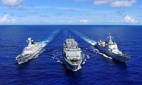 Các tàu Trung Quốc tham gia tập trận RIMPAC ngày 13/6/2014. Ảnh: Zuma Press.