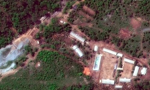 Ảnh chụp từ vệ tinh cho thấy bãi thử hạt nhân Punggye-ri của Triều Tiên trước vụ phá hủy ngày 24/5. Ảnh: New York Times.