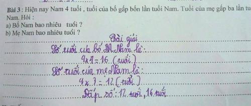 Theo đề bài toán, ở tuổi 12 và 8, bố mẹ đã sinh ra Nam? Ảnh: Internet