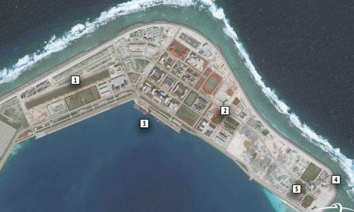 Các công trình Trung Quốc xây dựng trái phép trên đá Subi thuộc quần đảo Trường Sa của Việt Nam. Ảnh: CSIS.