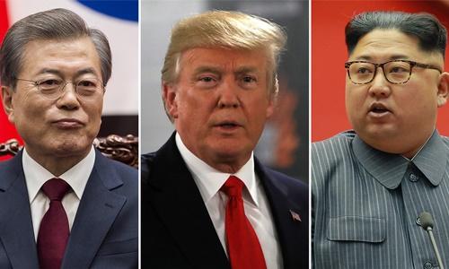 Từ trái qua, Tổng thống Hàn Quốc Moon Jae-in, Tổng thống Mỹ Donald Trump và lãnh đạo Triều Tiên Kim Jong-un. Ảnh: Reuters, AFP.