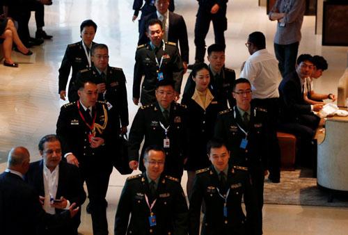 Đoàn đại biểu Trung Quốc dự Đối thoại Shangri-La 2018. Ảnh: Reuters.