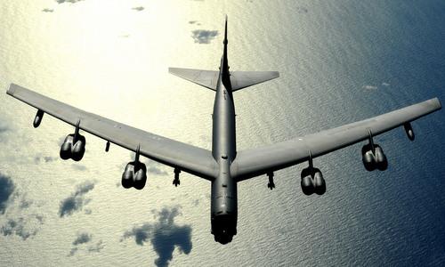 Oanh tạc cơ B-52 bay trên Thái Bình Dương hồi năm 2009. Ảnh: USAF.