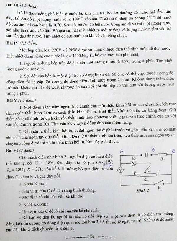 Đề Vật lý thi vào lớp 10 chuyên của Hà Nội