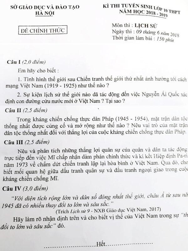 Đề thi Lịch sử lớp 10 chuyên của Hà Nội
