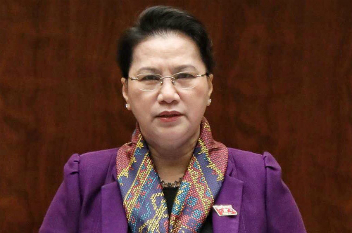 Chủ tịch Quốc hội Nguyễn Thị KIm Ngân phát biểu sáng 11/6. Ảnh: QH