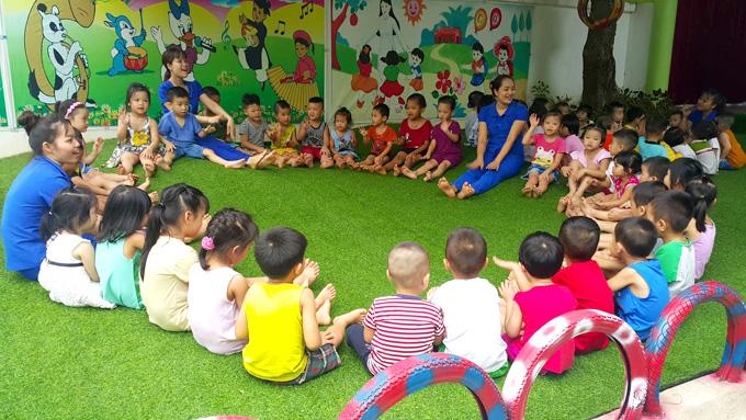 Sáng 14/6, trường Tuổi Thơ vẫn tiếp tục hoạt động. Ảnh: Nguyễn Hải.