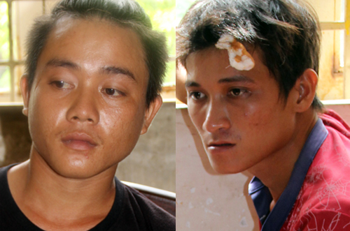 Dương và Lành tại cơ quan điều tra. Ảnh: Hồng Tuyết.